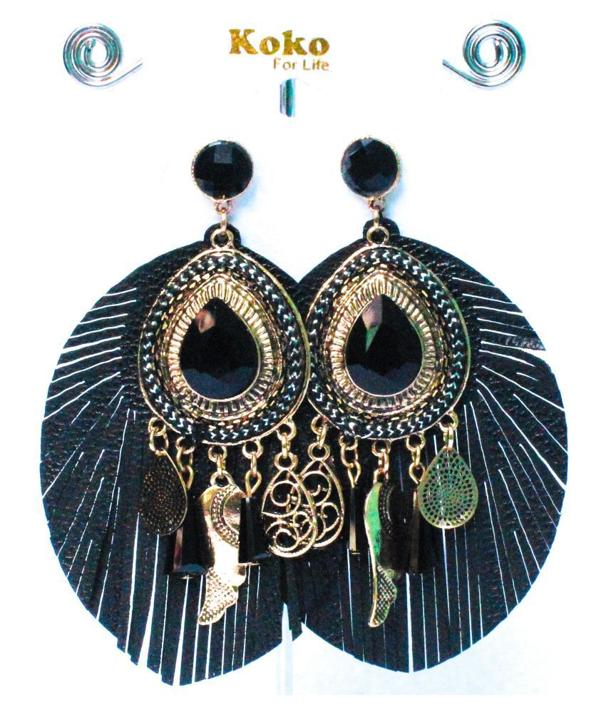 Stylish Hand Made Leather look Earings with Sapphire Stone