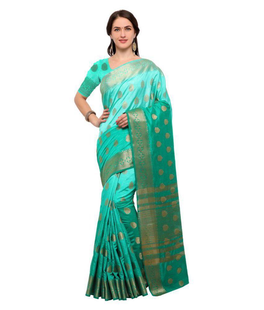 Saree Mall Green and Blue Silk Saree
