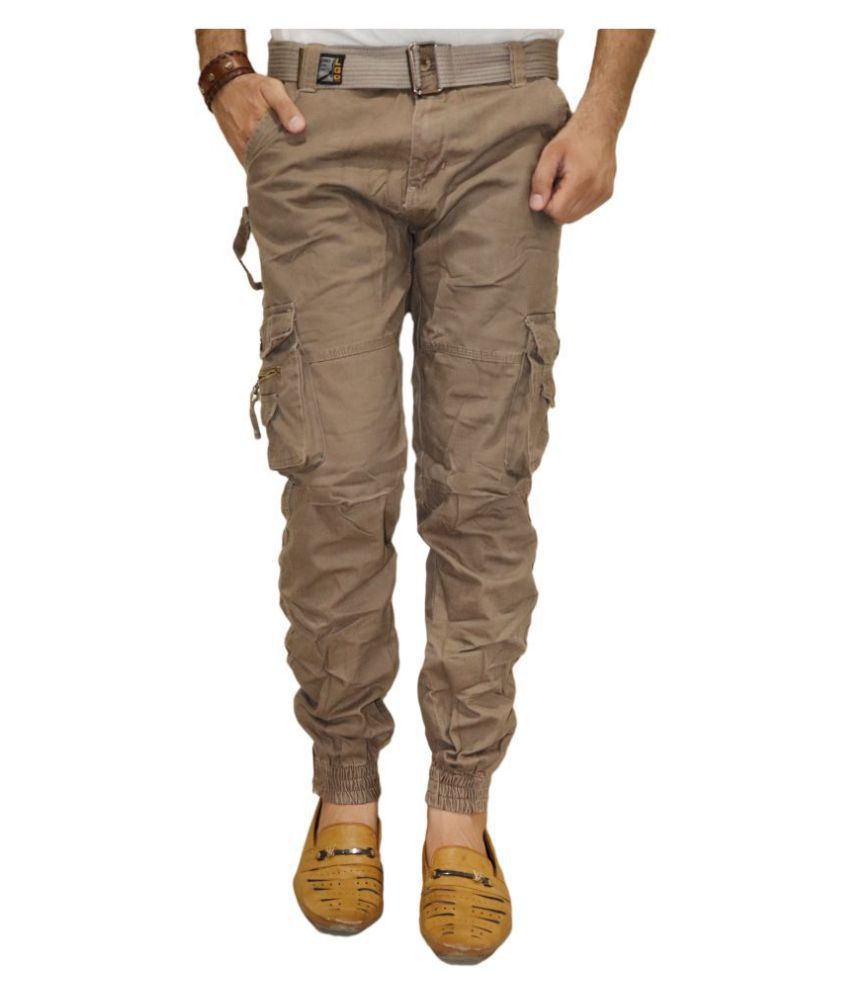 DREAM VISION Brown Regular -Fit Flat Cargos
