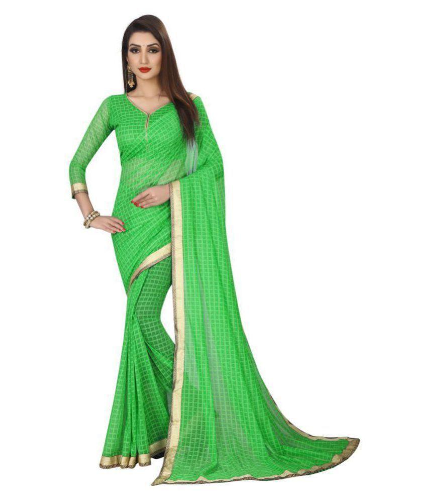 BEELEE TYPS Green Cotton Silk Saree