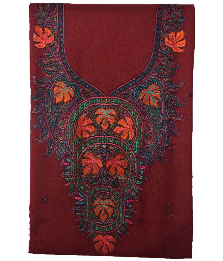 KASHMIRI Maroon Woollen Dress Material