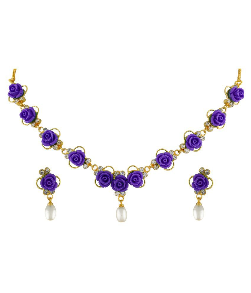 ClassiqueDesigner Jewellery Purple Color Flower Necklace Set