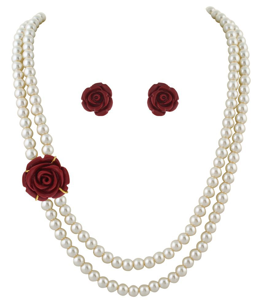 ClassiqueDesigner Jewellery Red Rose Pearl Set