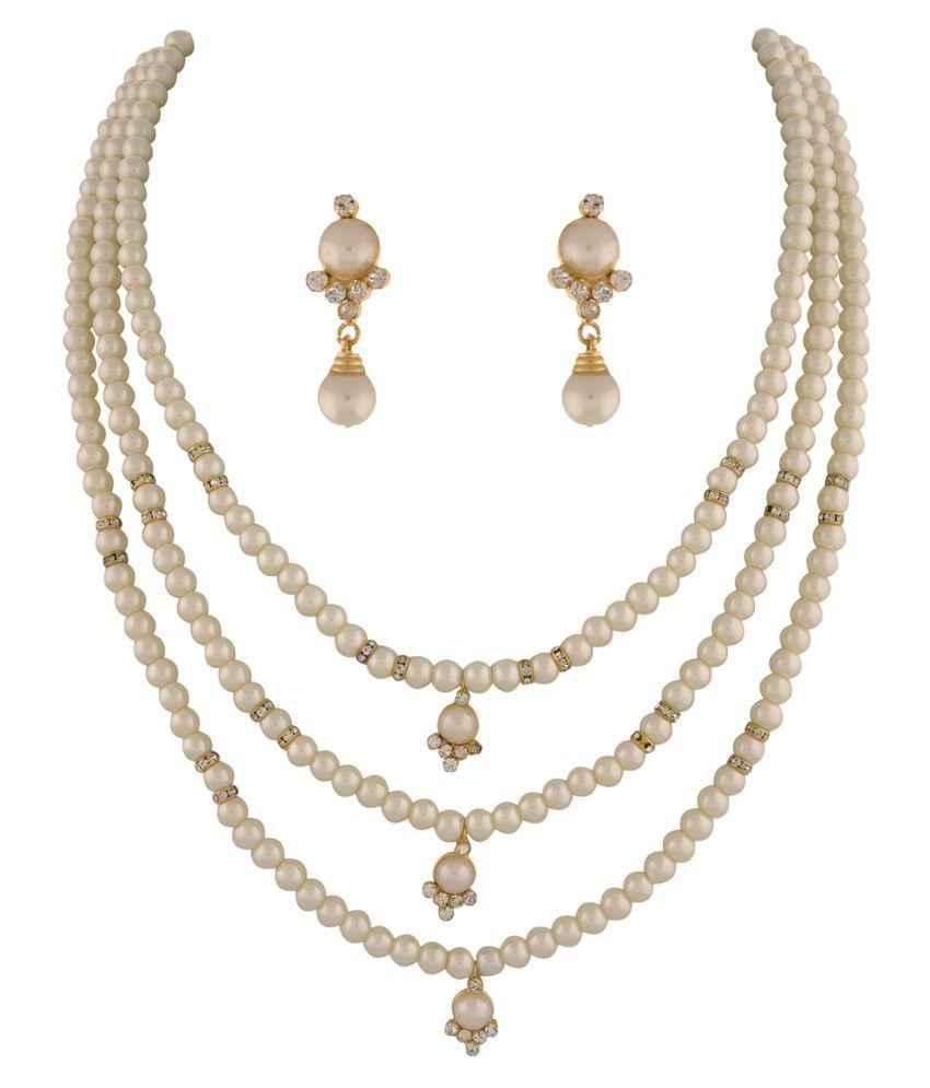 ClassiqueDesigner Jewellery Three Layer Beautiful Pearl Set