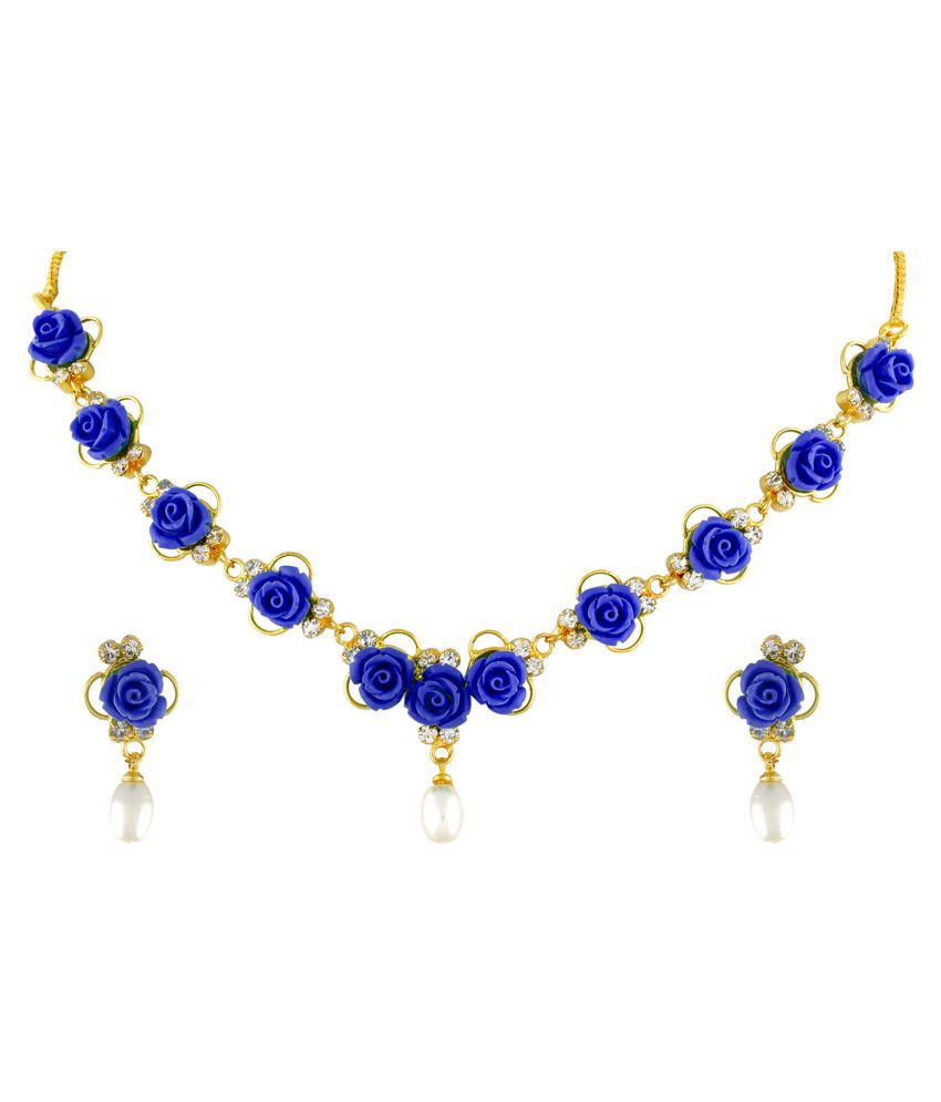 \nClassiqueDesigner Jewellery Blue Color Flower Necklace Set