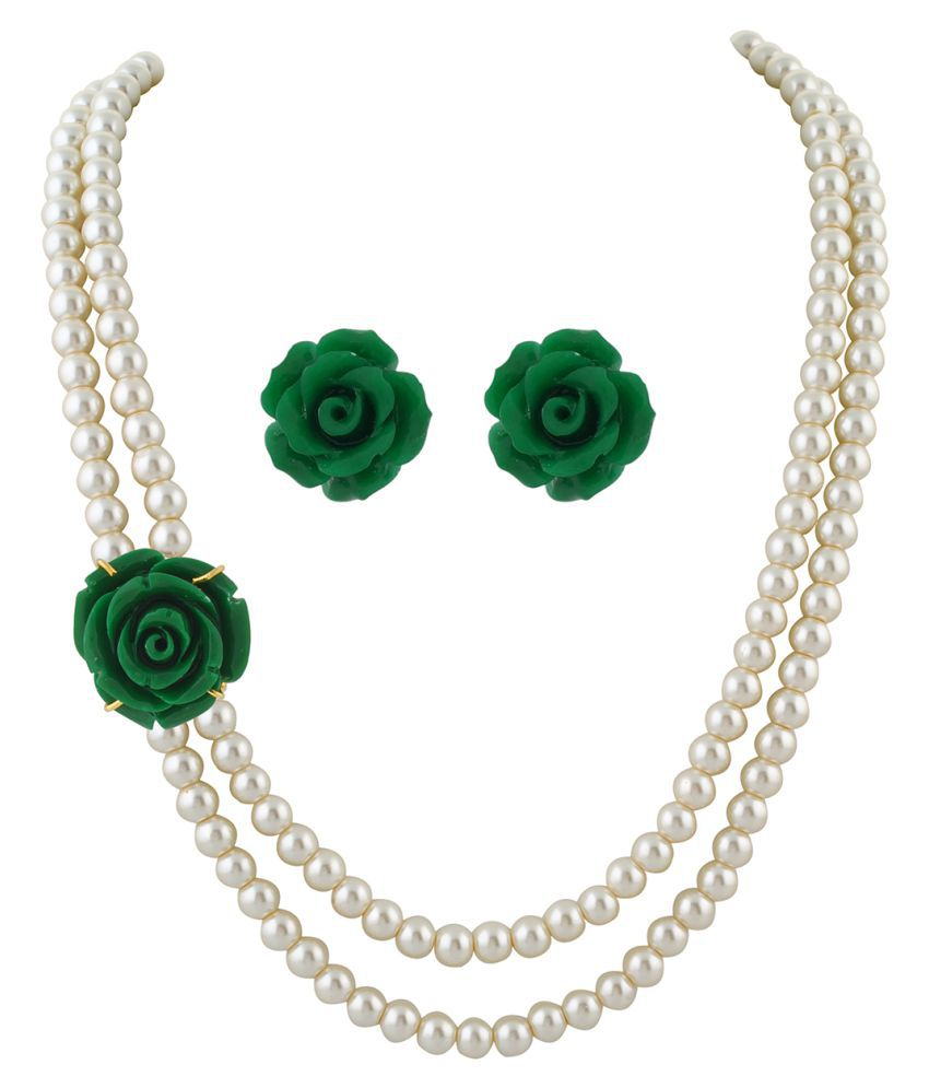 \nClassiqueDesigner Jewellery Green Rose Pearl Set