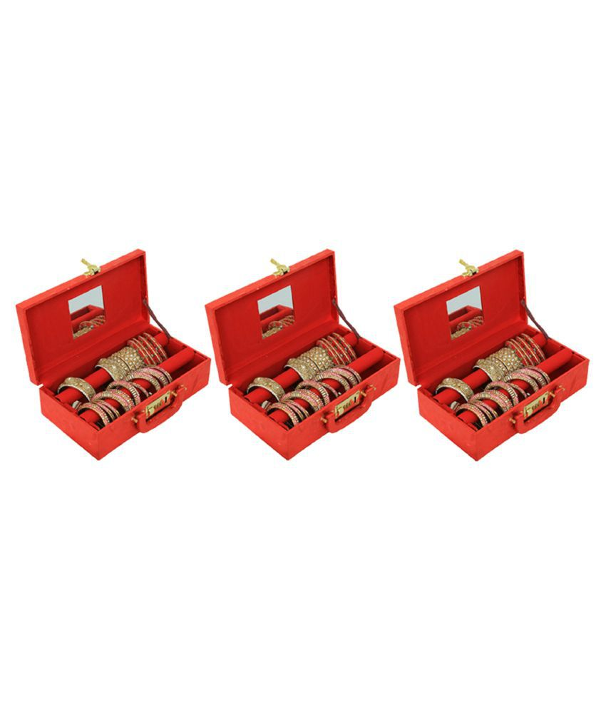Kuber Industries™ Two Roll Bangle Box With Lock in Hard Board With Inside Mirror Set of 3 Pcs (Red)  (Code-COM037)