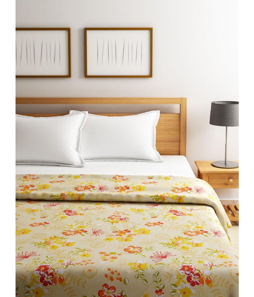 Swayam Double Cotton Orange Floral Duvet Cover