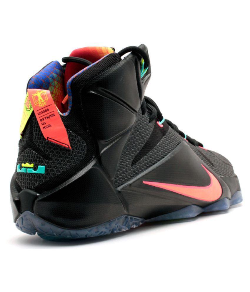 factory price f4129 932b0 ... Nike Lebron 12 MNG Fashion Black Basketball Shoes ...