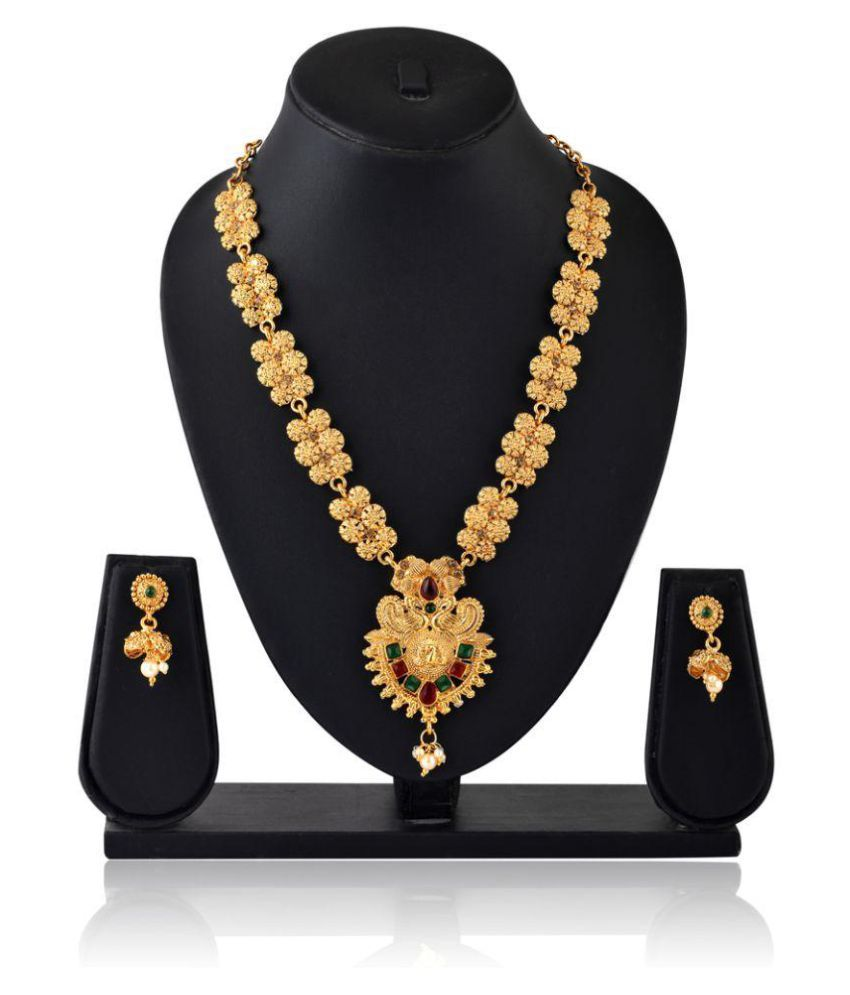 Sapna FX Antique Traditional High Gold Plated Peacock Ruby and Emerald Green Stone Jewellery Set - SBC 2000