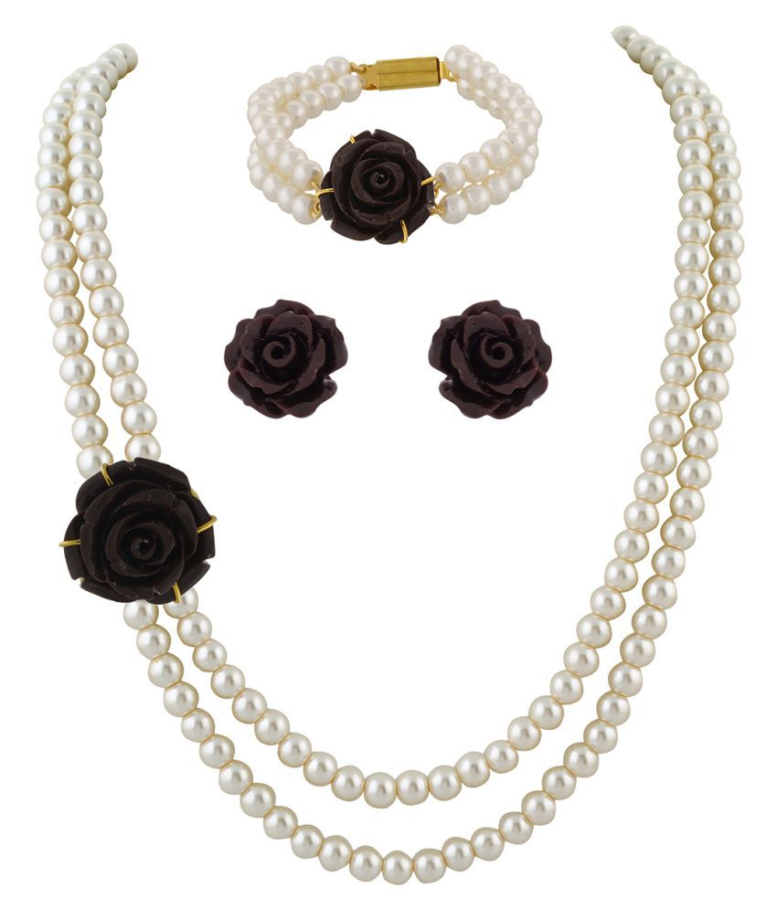 \nClassiqueDesigner Jewellery Brown Rose Pearl Set with Bracelet