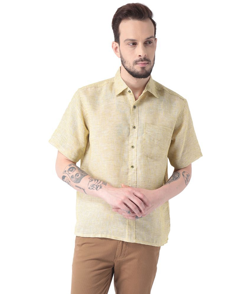 VIVID INDIA Yellow Regular Fit Shirt Single