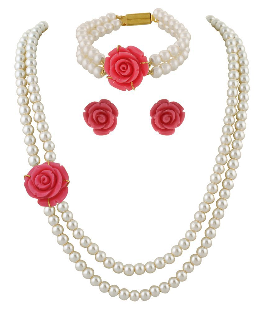 \nClassiqueDesigner Jewellery Pink Rose Pearl Set with Bracelet
