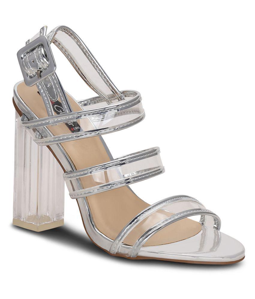 Get Glamr Silver Block Heels