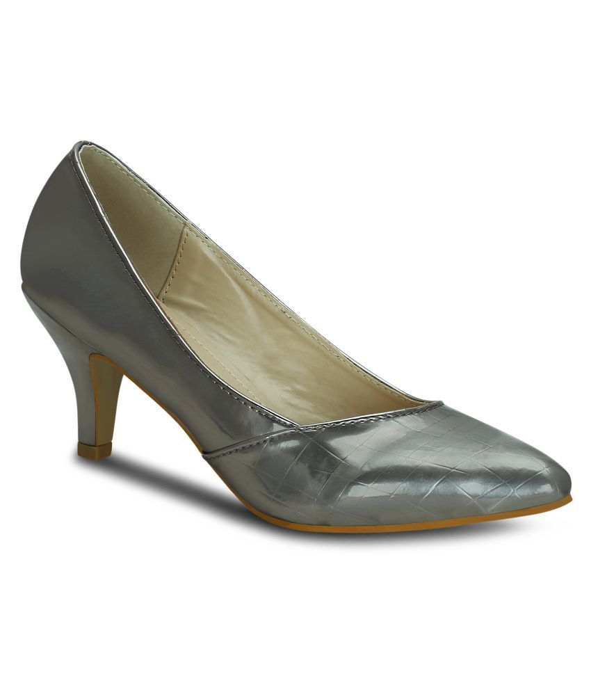 Get Glamr Gray Kitten Heels