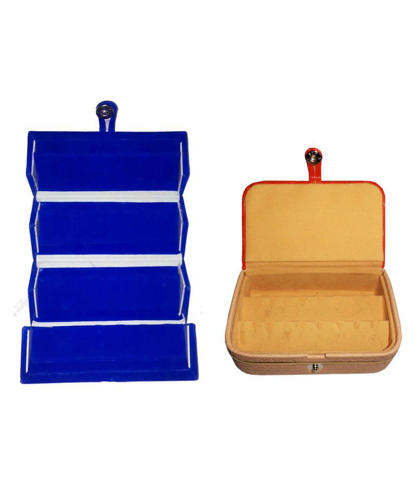 Combo 1 pc blue earring folder and 1 pc ear ring box vanity case