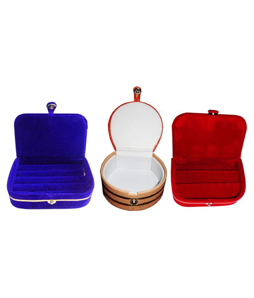 Combo 1 pc blue ring box 1 pc red ear ring box  and 1 pc bangle box