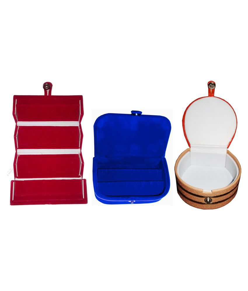 Combo 1 pc red earring folder  1 blue ear ring box and 1 pc bangle box jewelry vanity case