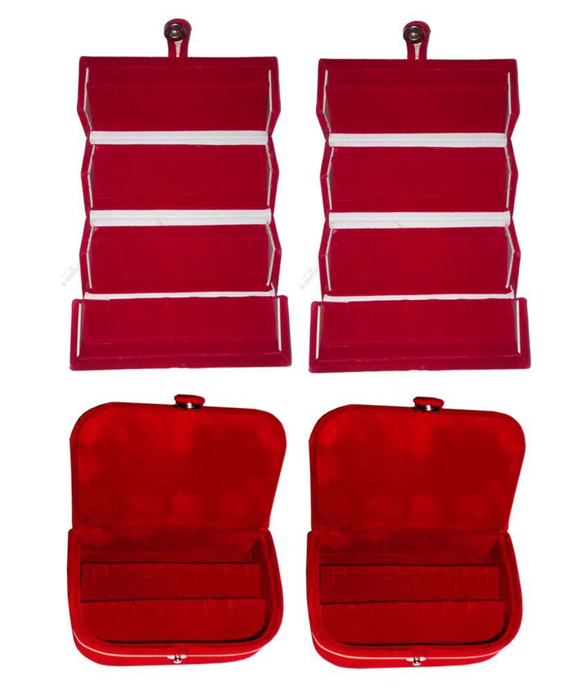Combo 2 pc red earring folder and 2 pc red ear ring box vanity case