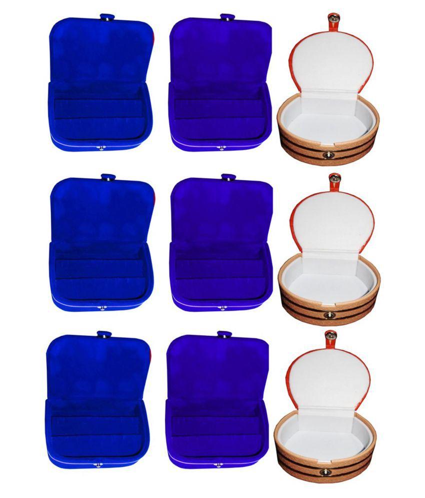Combo 3 pc blue earring box 3 pc blue ear ring folder 3 pc bangle box jewelry vanity case