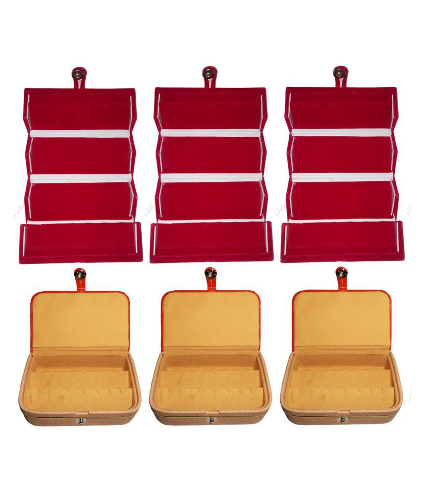 Combo 3 pc red earring folder and 3 pc ear ring box vanity case