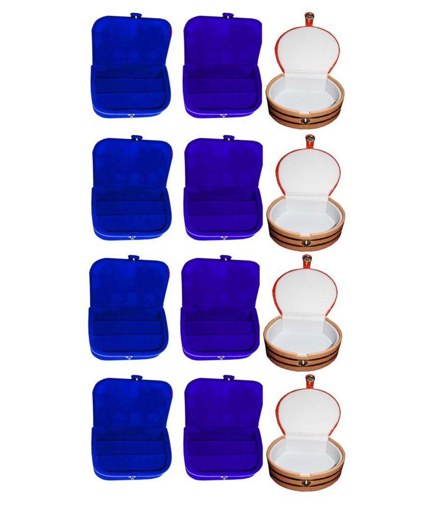 Combo 4 pc blue earring box 4 pc blue ear ring folder 4 pc bangle box jewelry vanity case
