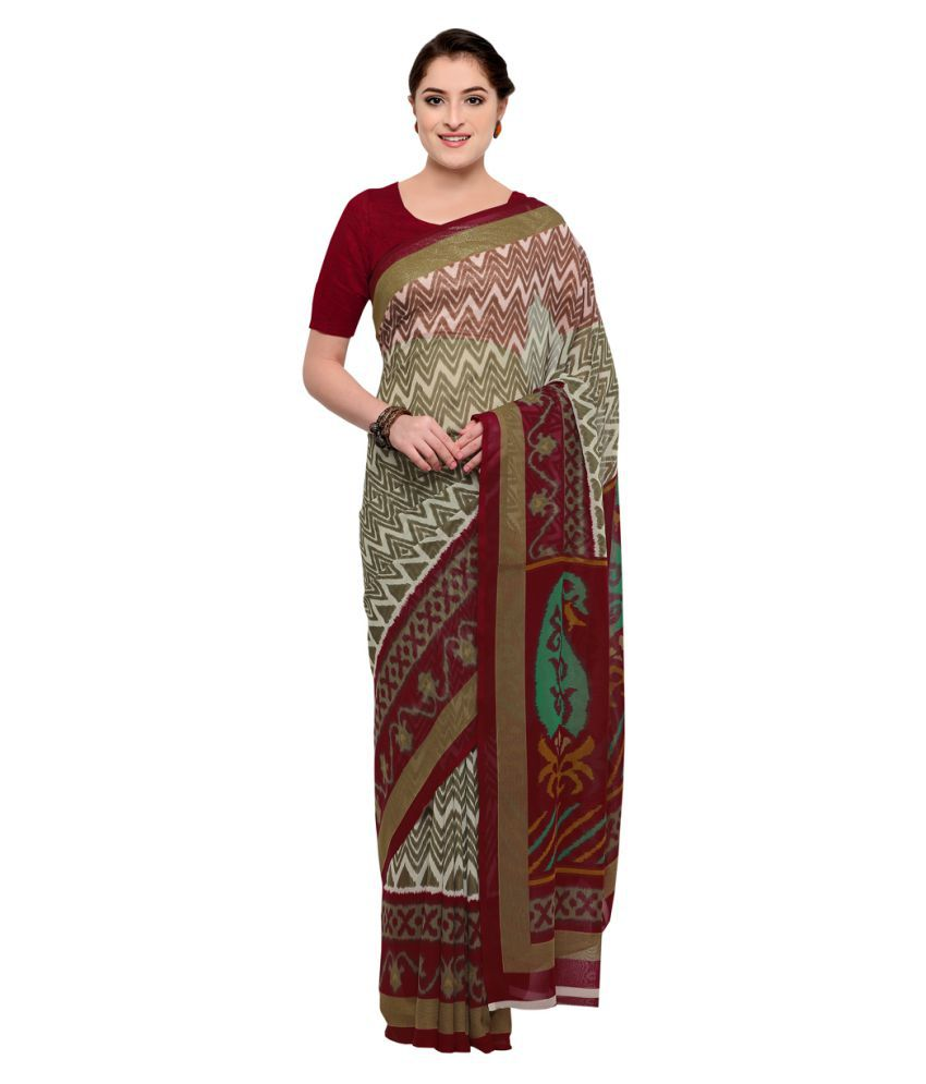 Yadu Nandan Fashion Brown and Beige Georgette Saree