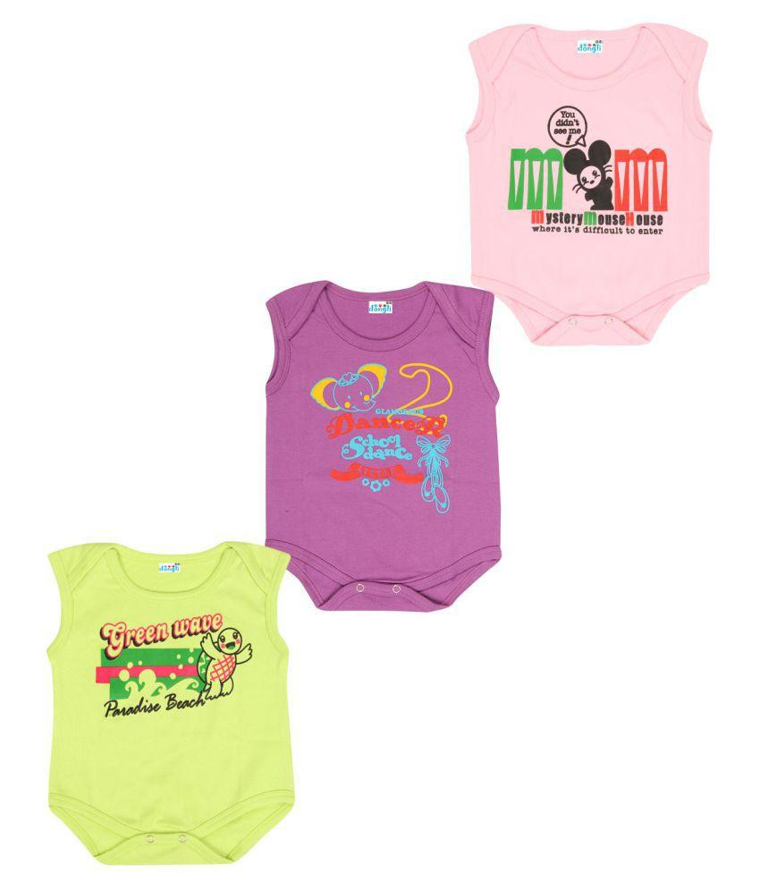 Dongli Cotton Unisex Baby Sleeveless Bodysuits(Pack 3)
