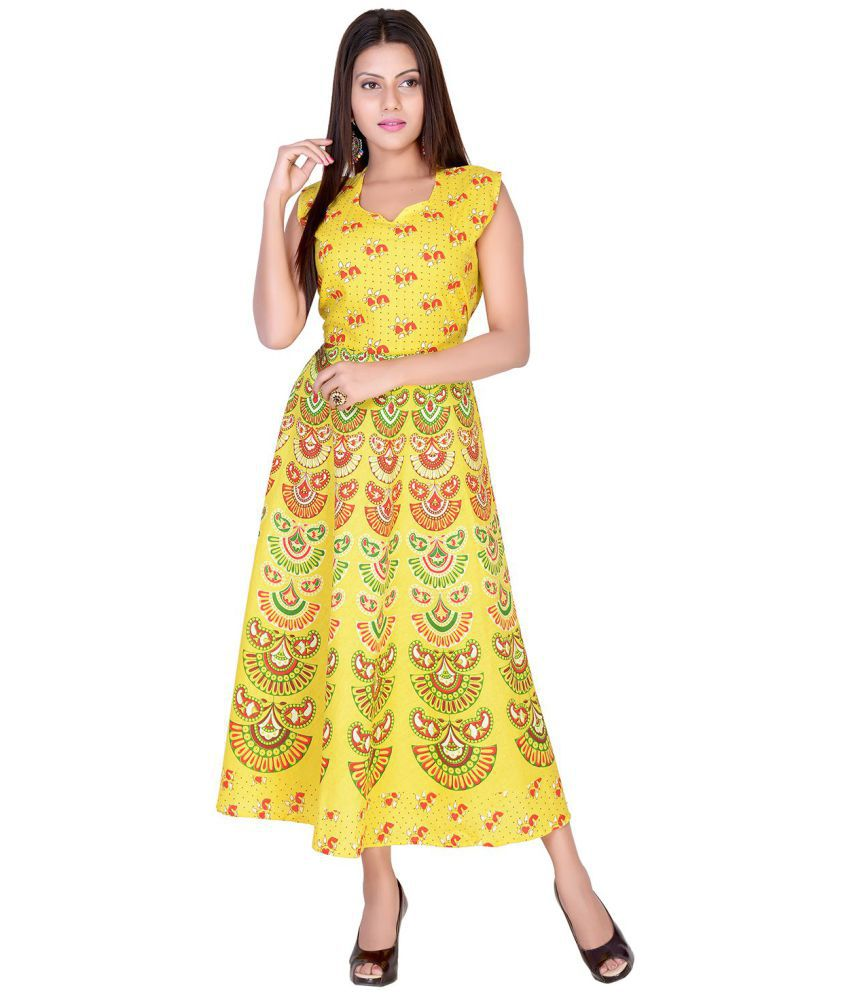 fabcolors Cotton Yellow Fit And Flare Dress