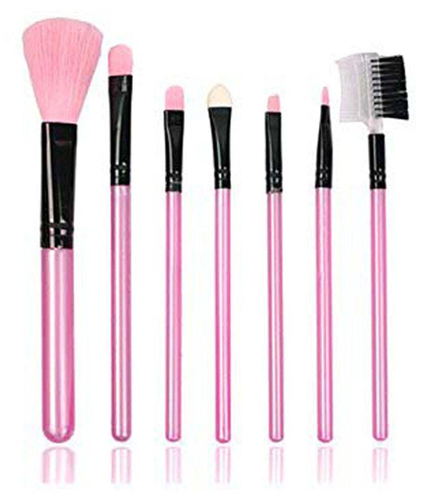 FOK Set of 7pc Premium Quality Complete Makeup Brush Kit Random Color Synthetic Blending,Dust off Powder g Pcs