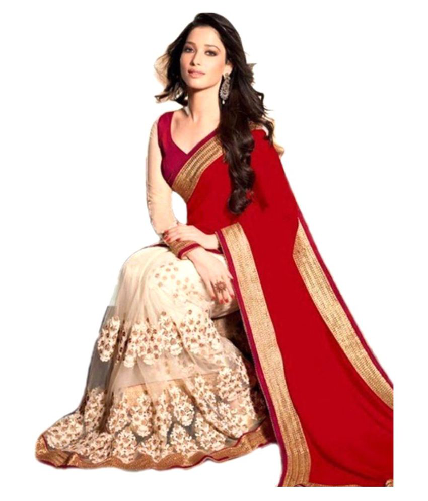 bb02074f09845c evokemart georgette saree with embroidary - Buy evokemart georgette saree  with embroidary Online at Low Price - Snapdeal