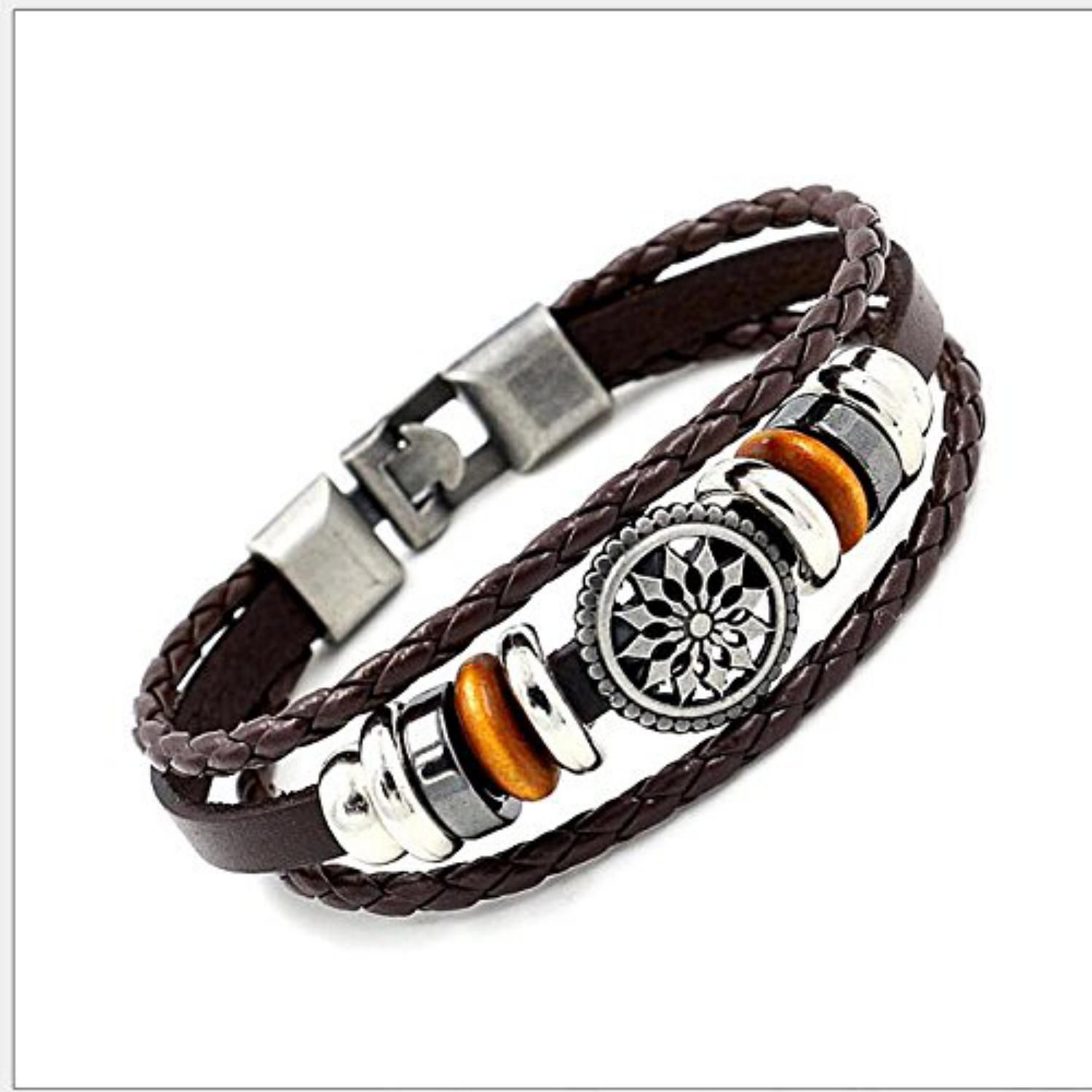 High School Edition Authentic Stylish Anchor Design Genuine Leather Bracelet For Men & Boys For Daily / Party / Gym Wear (BROWN)