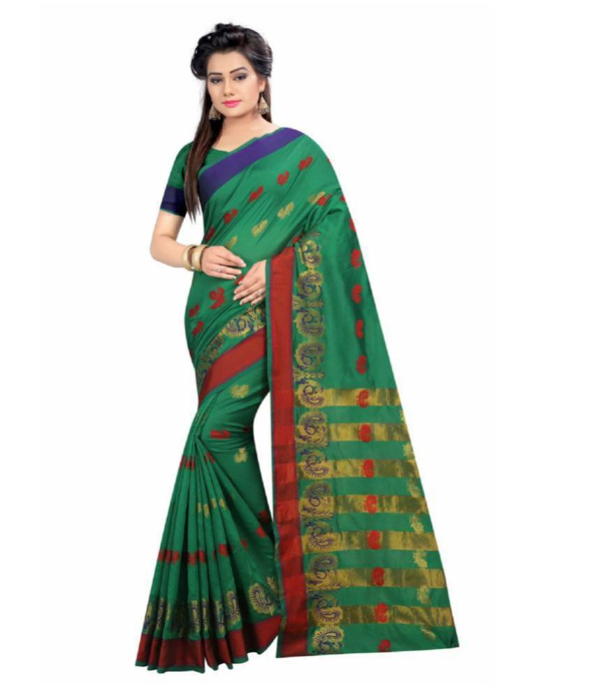 Fabrica Fab Green and Brown Polycotton Saree