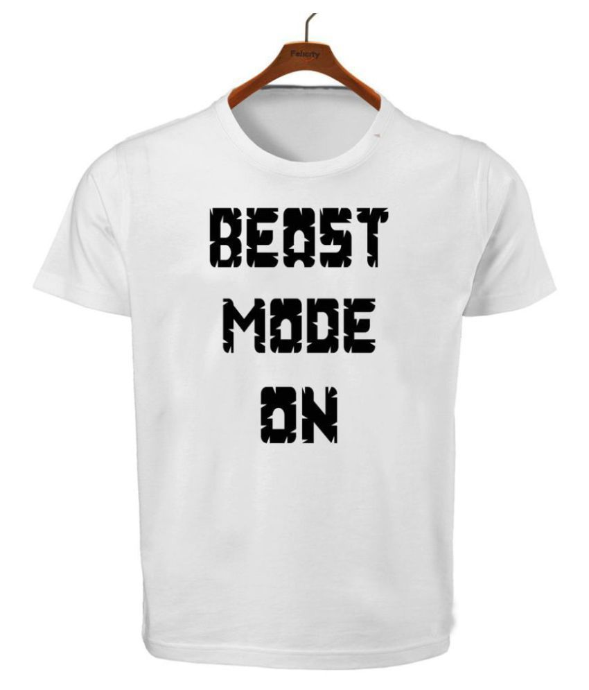 Ritzees Unisex Half Sleeve Dry Fit White Polyester T-Shirt Beast Mode On by