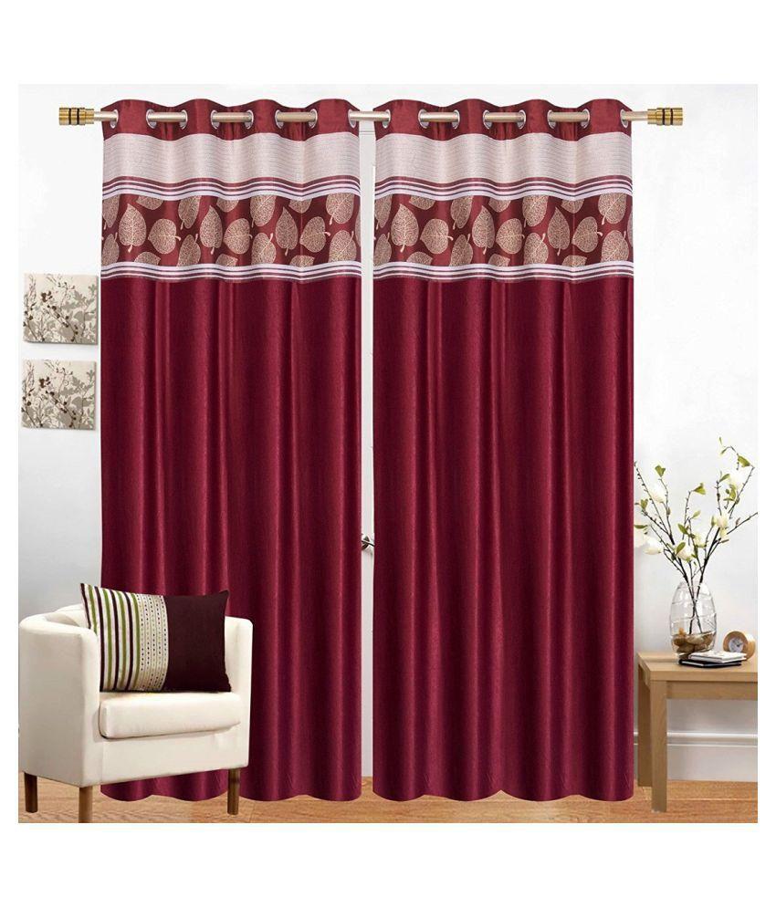 Geonature Set of 2 Door Eyelet Curtains Printed Maroon