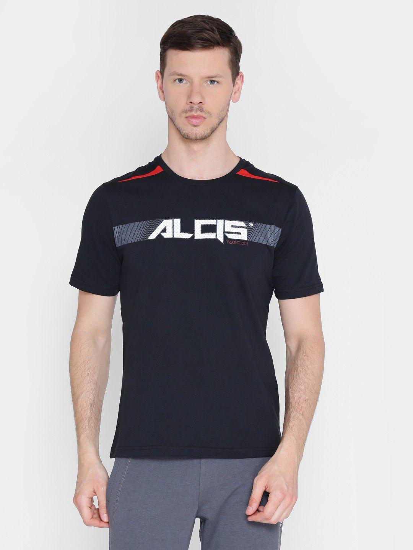 Alcis Mens Printed Black Training T-Shirt