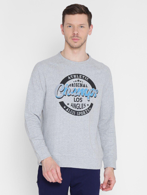Alcis Mens Printed Grey Sweatshirt