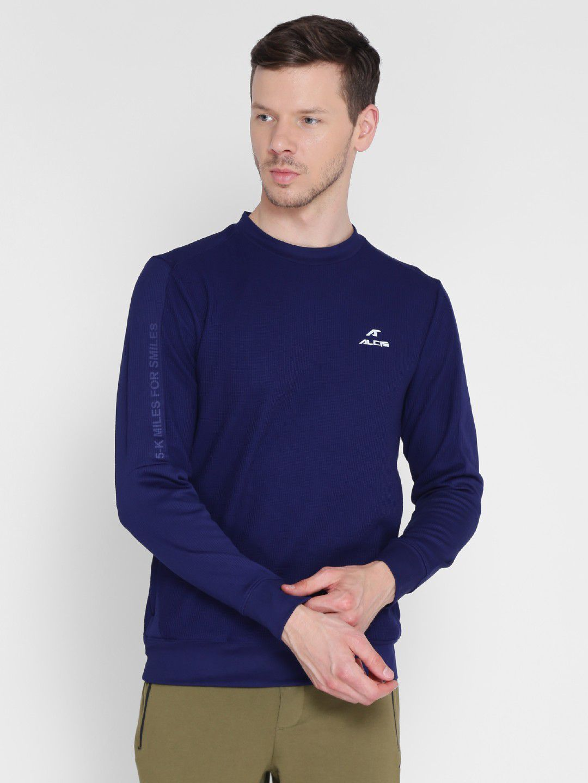 Alcis Mens Printed Navy Blue Running Sweatshirt
