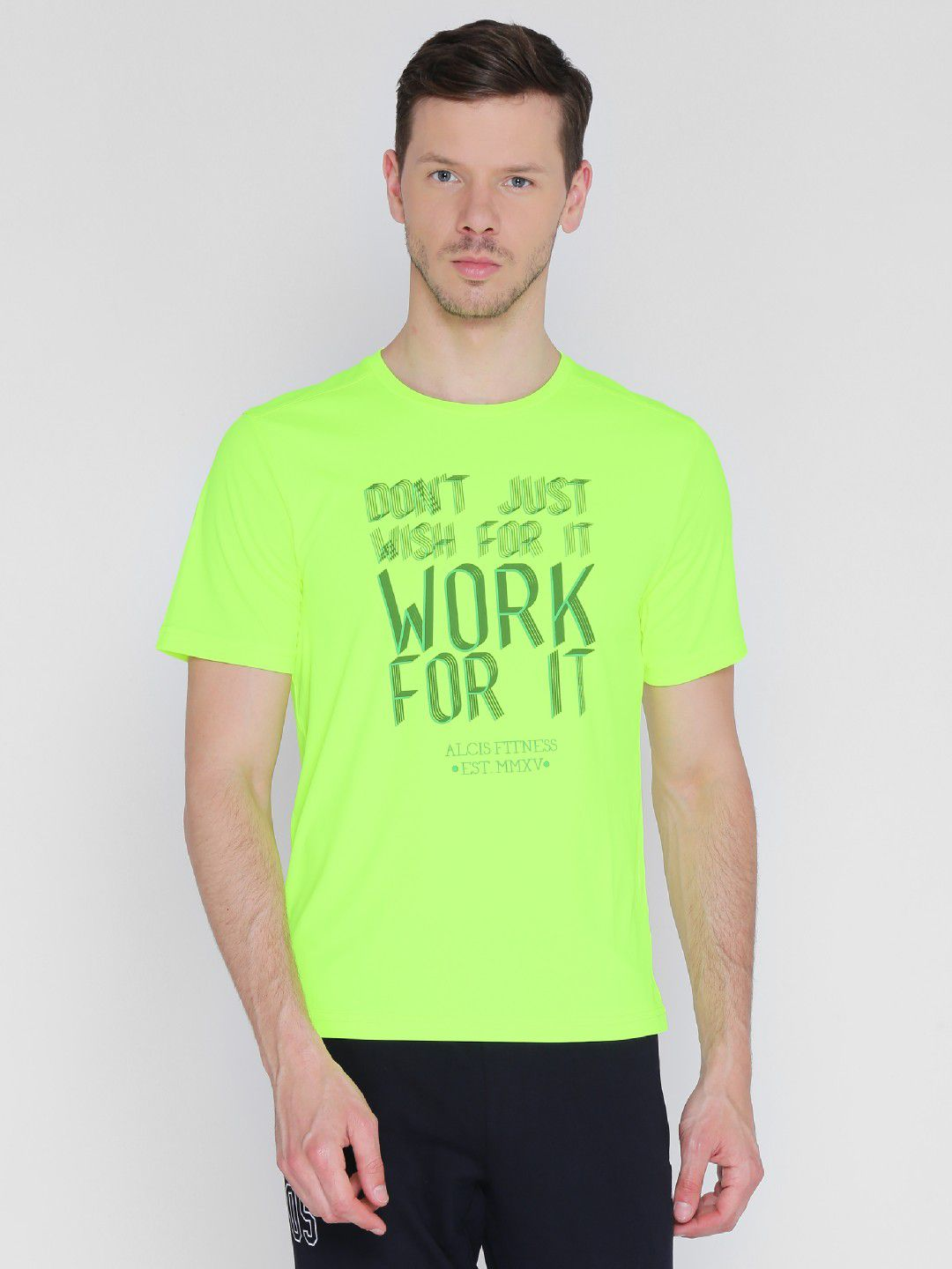 Alcis Mens Printed Neon Green Training T-Shirt