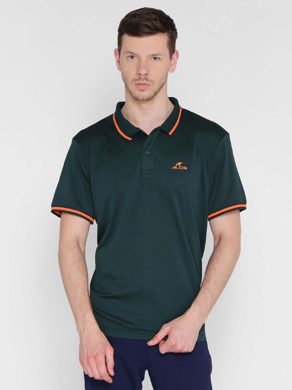 Alcis Mens Solid Dark Green Polo T-Shirt