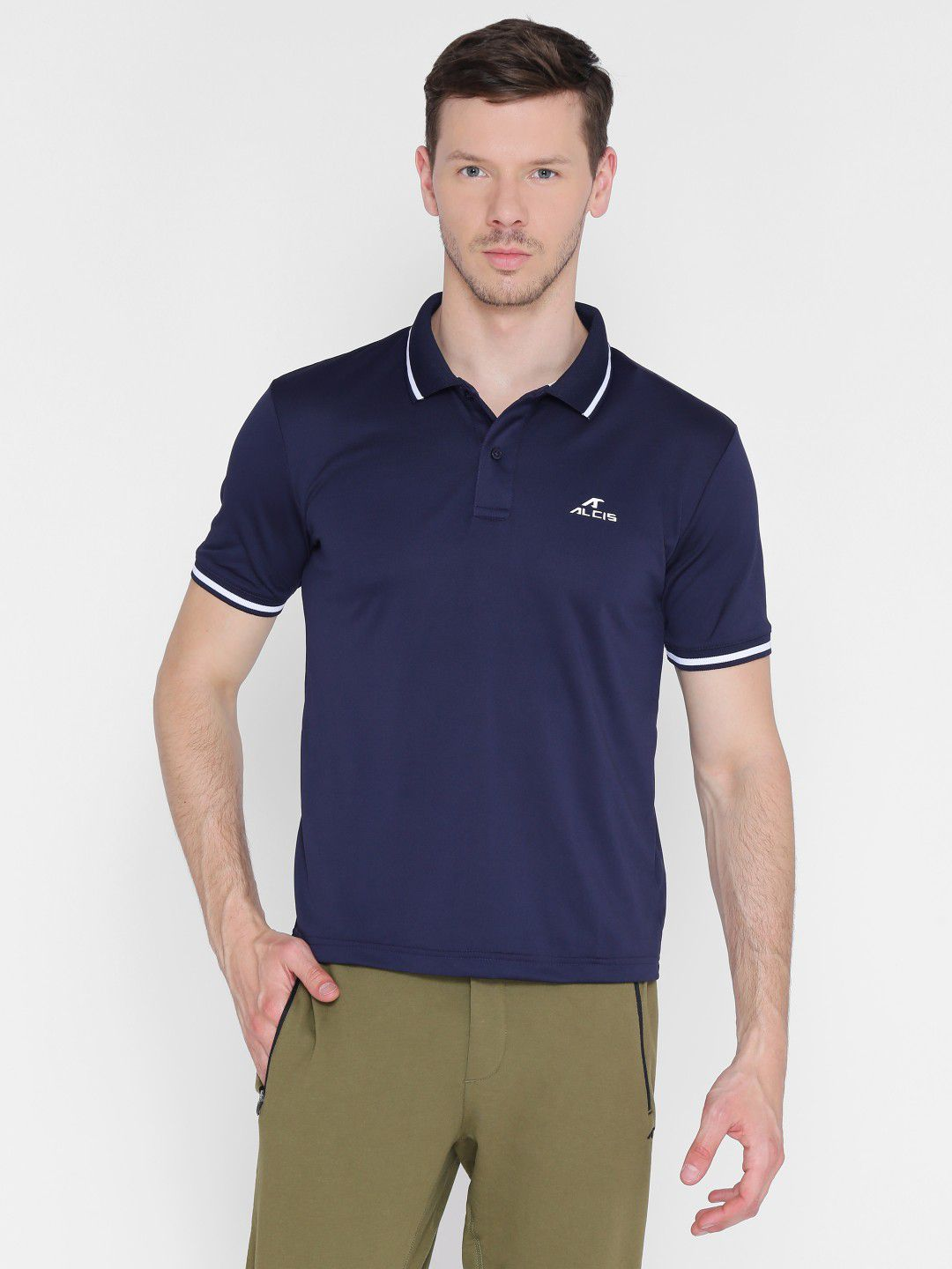 Alcis Mens Solid Navy Blue Polo T-Shirt