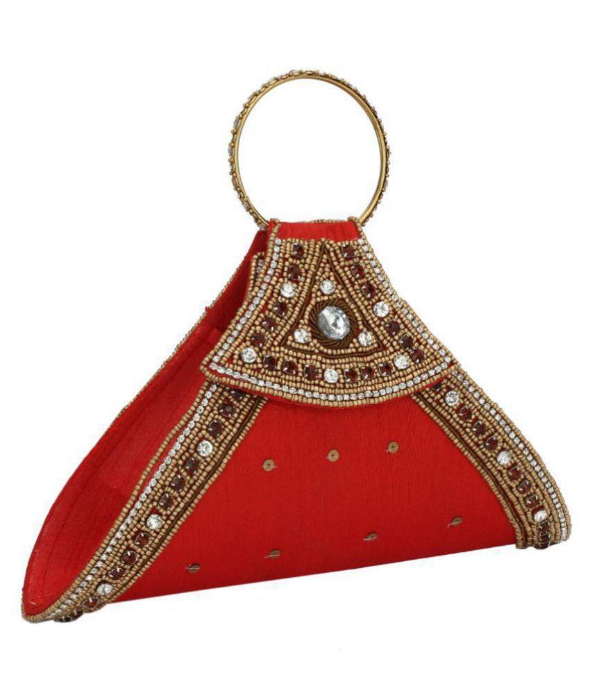 Himalaya Handicrafts Red Silk Handheld
