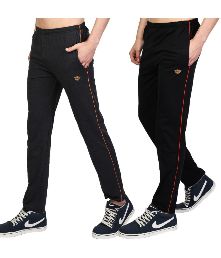 White Moon Black,Grey Cotton Blend Trackpants Pack of 2