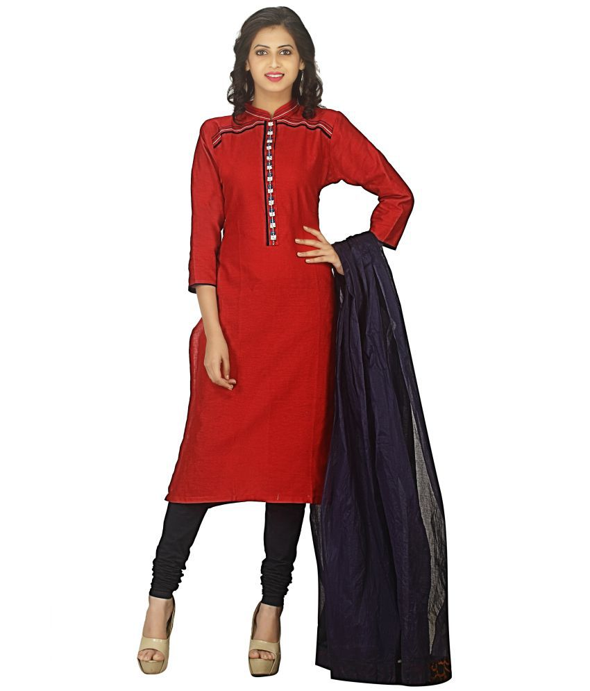 AVYUKTA Red Cotton Straight Stitched Suit