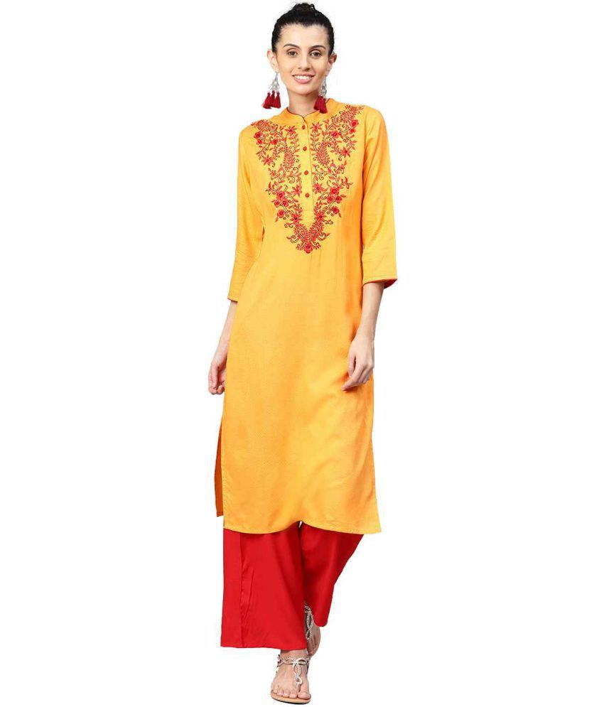 Jaipur Kurti Orange Viscose Straight Stitched Suit