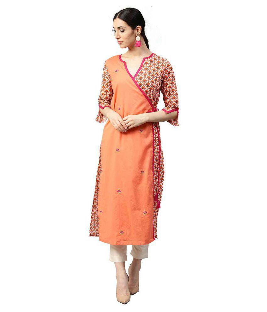 Jaipur Kurti Peach Cotton Straight Kurti