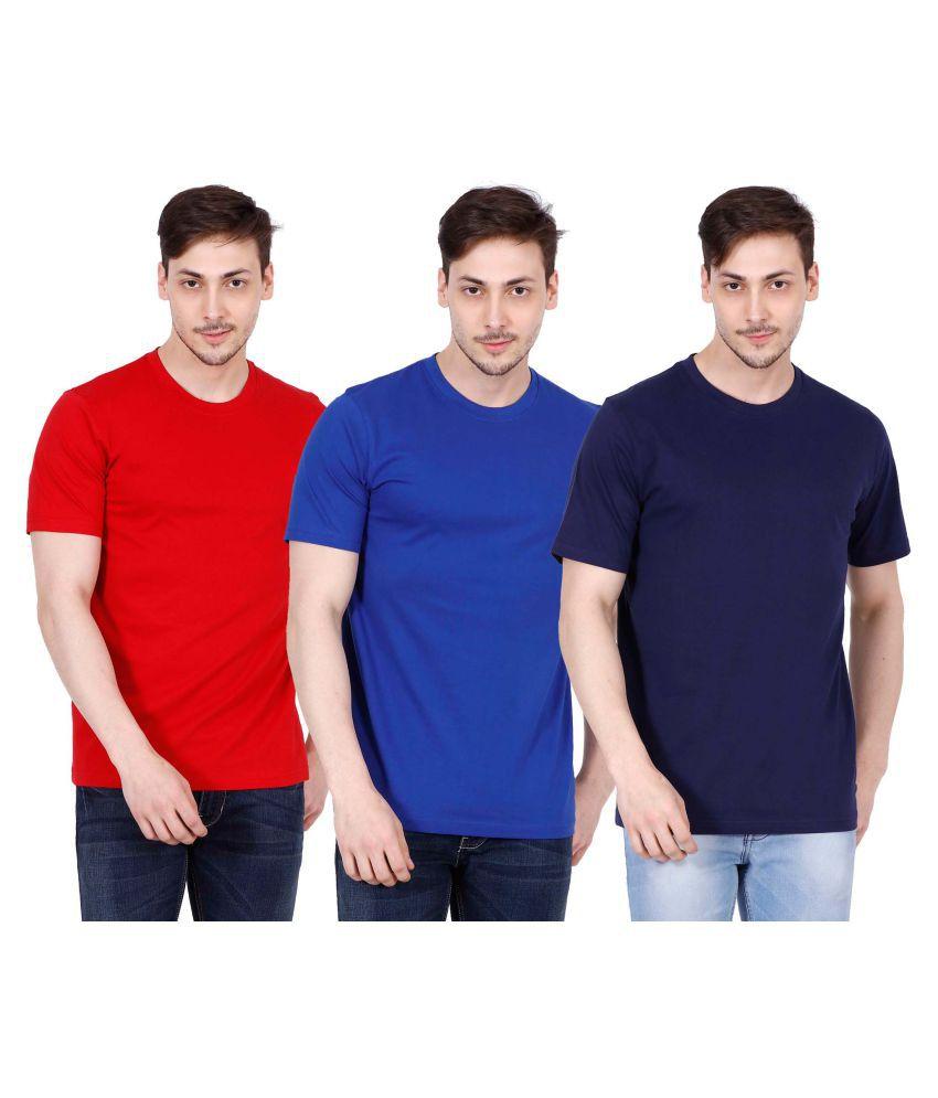 OJASS Multi Round T-Shirt Pack of 3