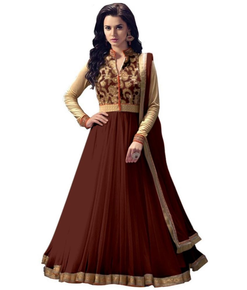 THE 9192 Brown Net Anarkali Semi-Stitched Suit