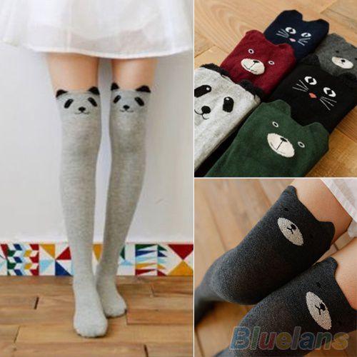 Women's Fashion Cute 3D Cartoon Animal Pattern Thigh Stockings Over Knee High Knit Socks