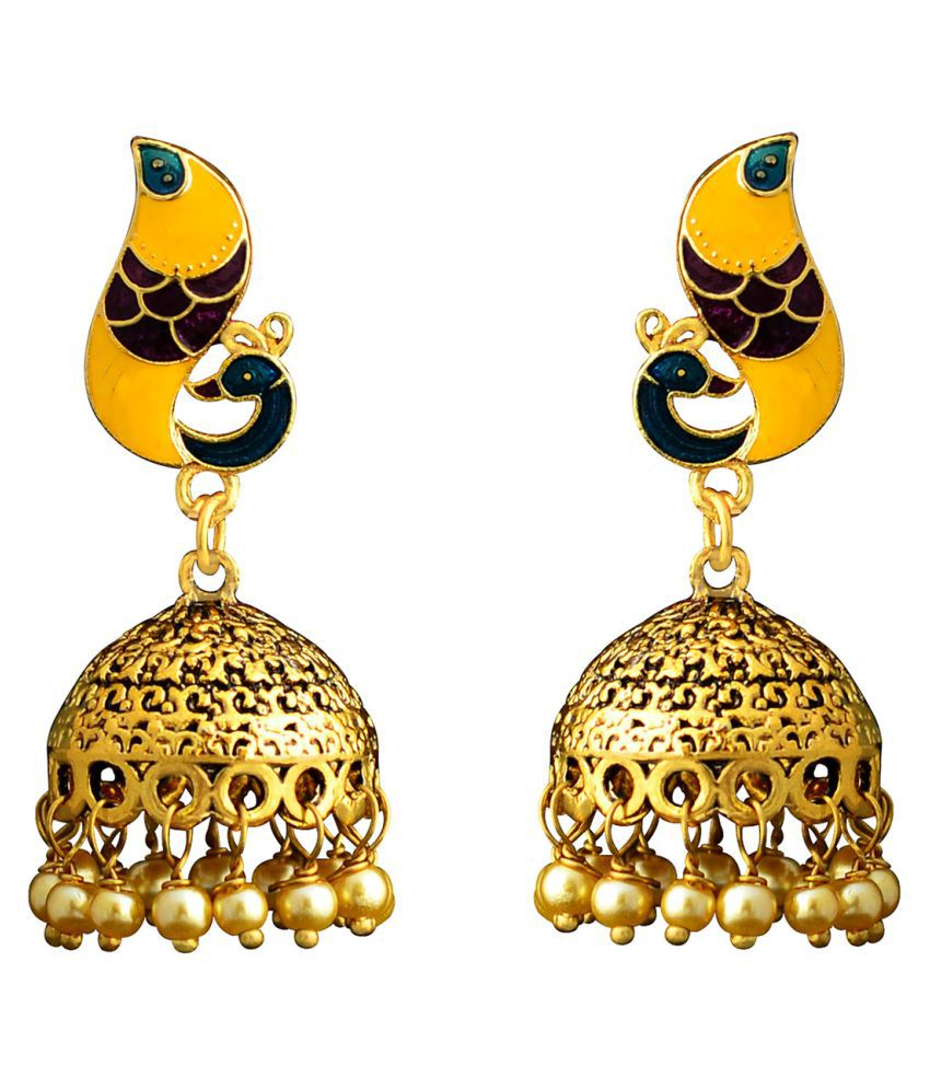 Fashion Meenakari peacock shape gold plated Antique brass jhumki earrings for women girls and gifts